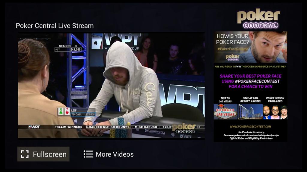 Um exemplo de transmissão da Poker Central na Amazon